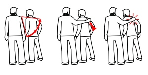 The only acceptable way to hug your male friends as a guy - you have to hurt them.