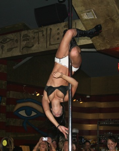 A lovely, hard-working woman on a pole. Do you know how hard this is to do?